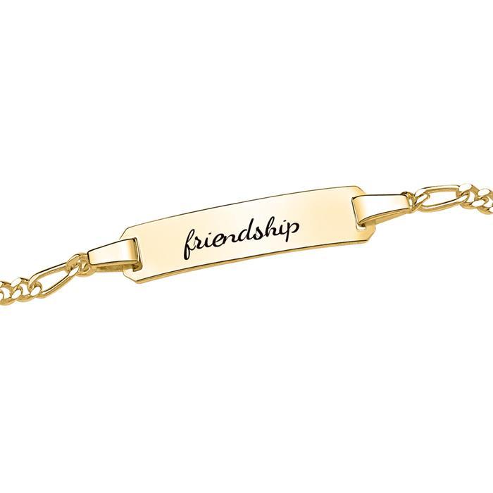 Vergoldetes Armband 925er Silber mit Gravurplatte