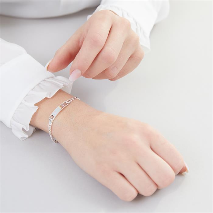 925 Silberarmband mit pinkem Stein Gravur