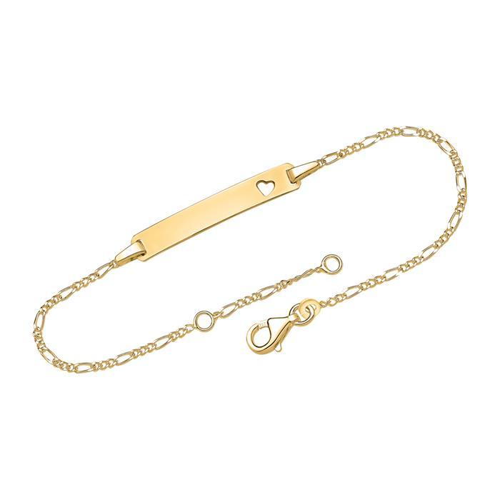 Armband vergoldet Herz mit Gravurplatte