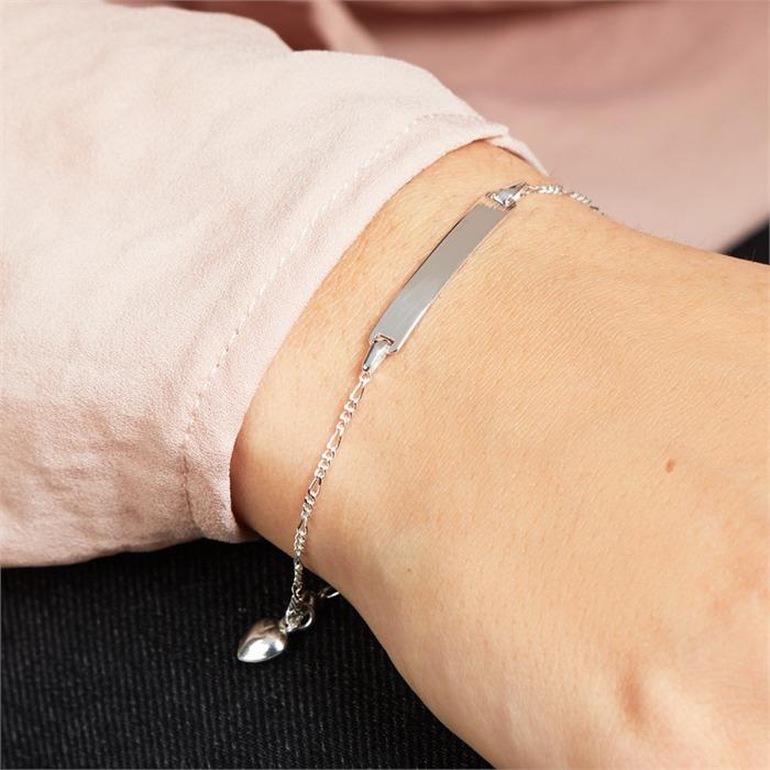 Armband 925 Silber Herzanhänger Gravur ID1012SL a2342398cf