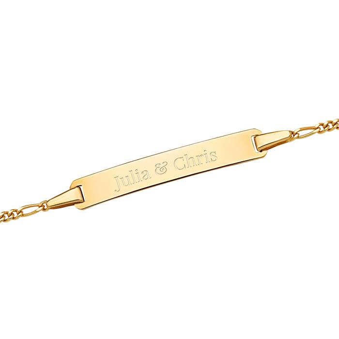 Armband 585er Gold mit Gravurplatte
