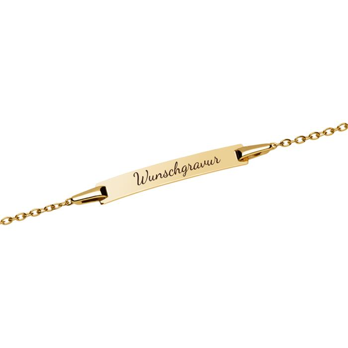 Gravierbares Armband 585er Gold mit Herz