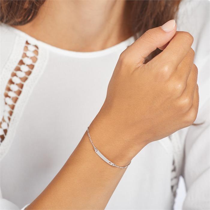 Gravierbares 375er Weißgold Armband mit Herz