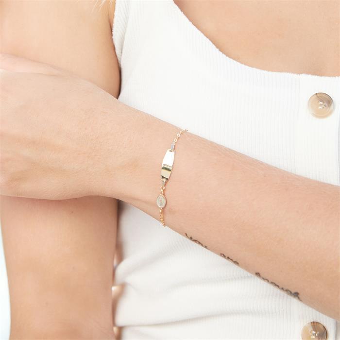 9K Goldarmband mit Schutzsymbol gravierbar