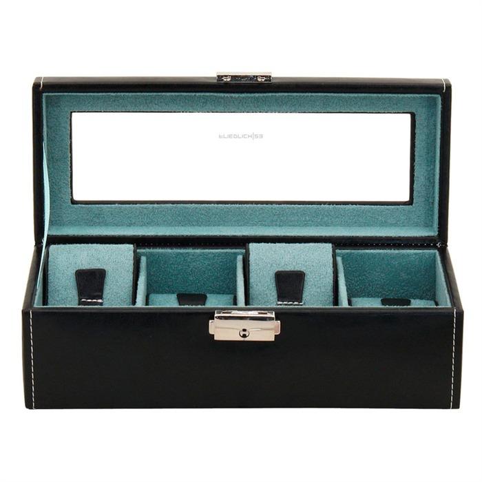 Schwarze Uhrenbox für 4 Uhren schwarz