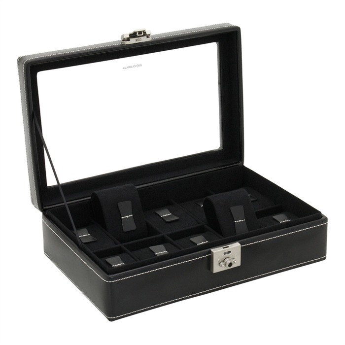 Uhrenkasten schwarzem Leder für 10 Uhren