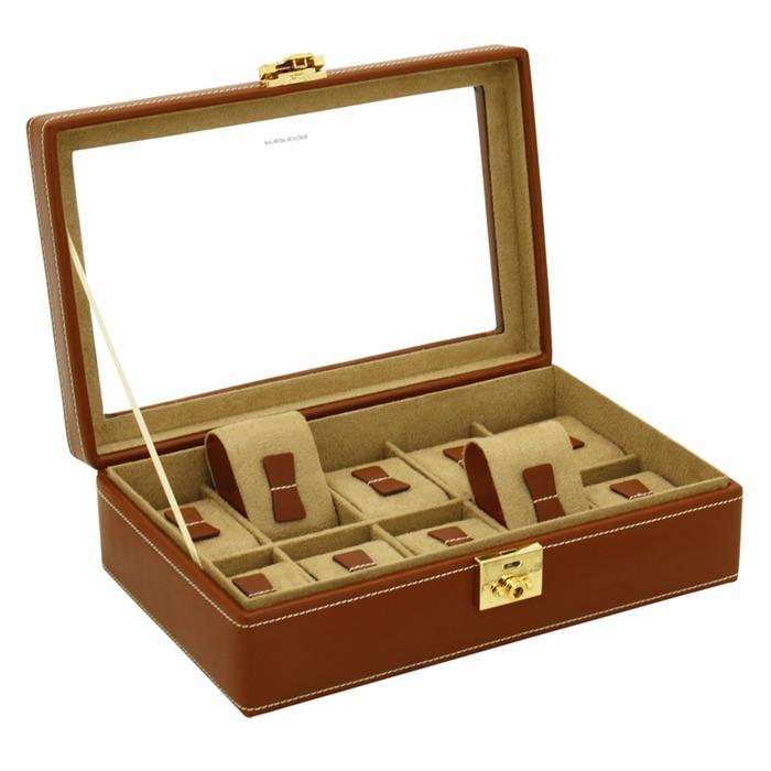 Uhrenkasten Cordoba braun Leder für 10 Uhren