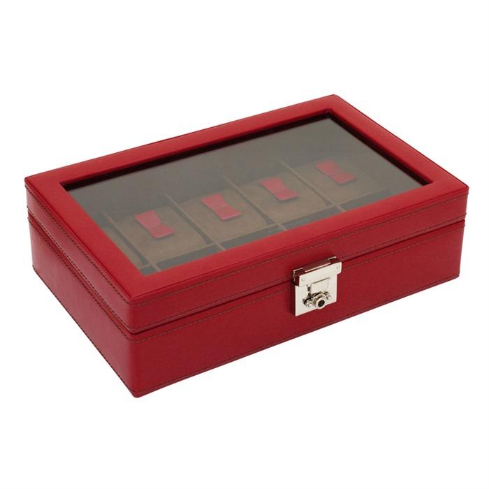 Uhrenkasten Cordoba rot Leder für 10 Uhren