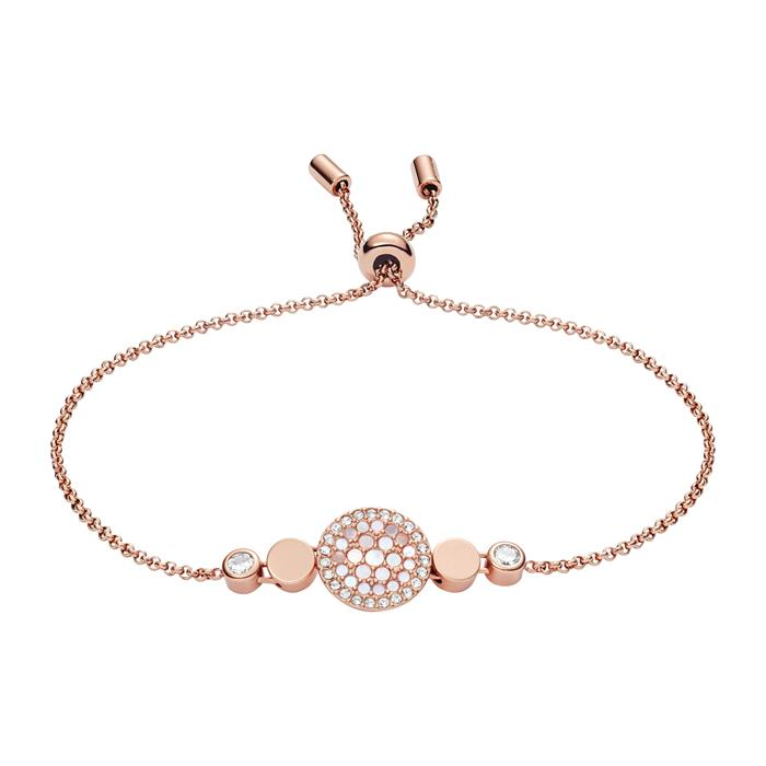 Damen Armband Disc Mother of Pearl Edelstahl rosé