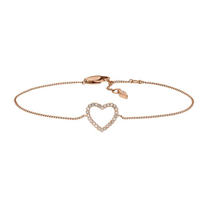 Herz Armband Vintage Glitz aus Edelstahl rosévergoldet