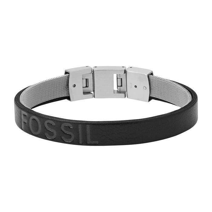 Armband für Herren aus Edelstahl und schwarzem Leder