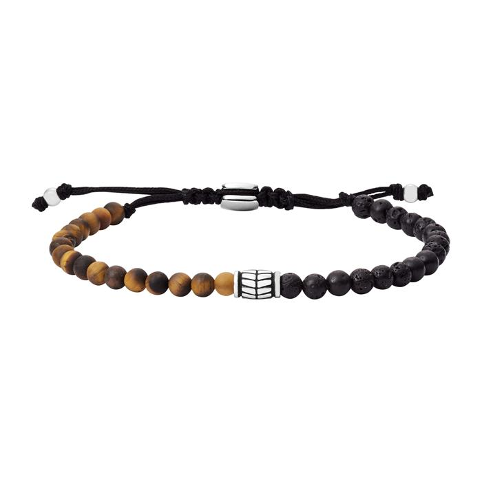 Herren Armband aus Tigerauge und Lavastein