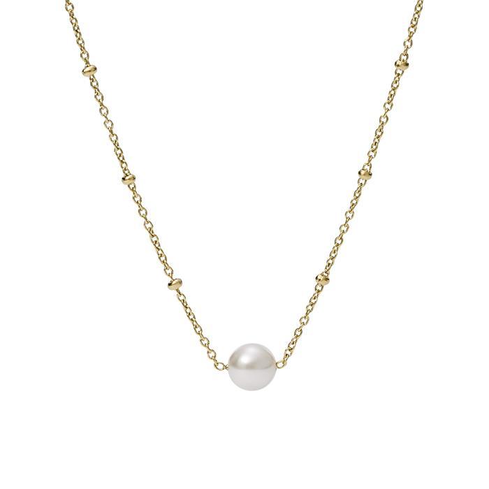 Kette für Damen aus vergoldetem Edelstahl mit Perle