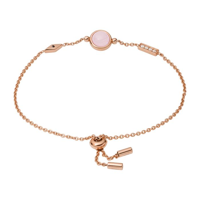 Armband aus rosévergoldetem Edelstahl mit Rosenquarz