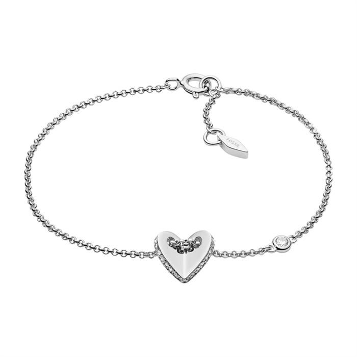 925er Silber Armband Folded Heart