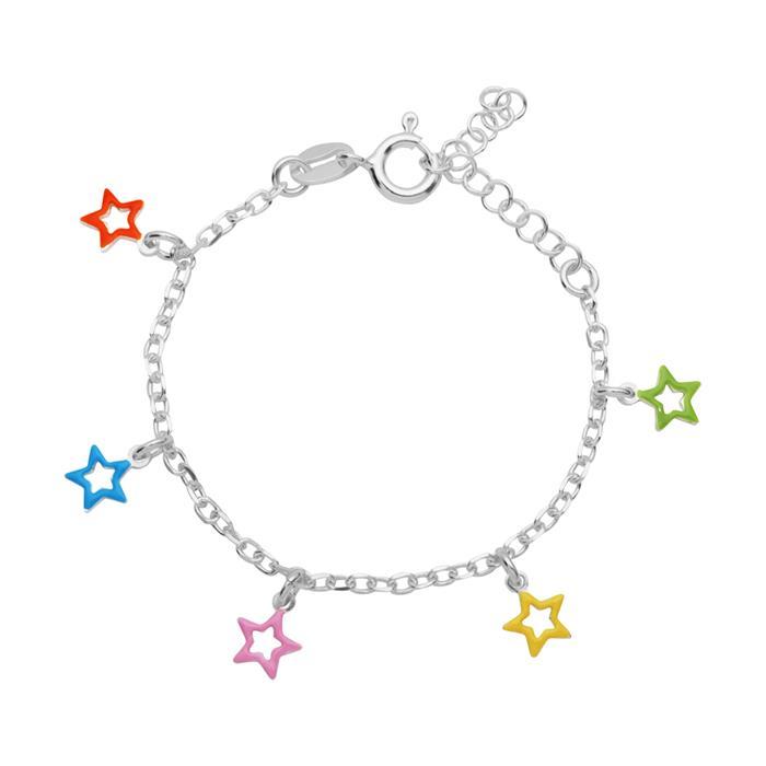 Armband für Kinder 925 Silber mit bunten Sternen