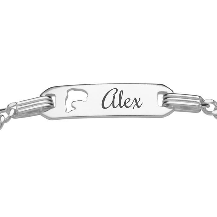Gravierbares Kinderarmband Silber Schildkröte