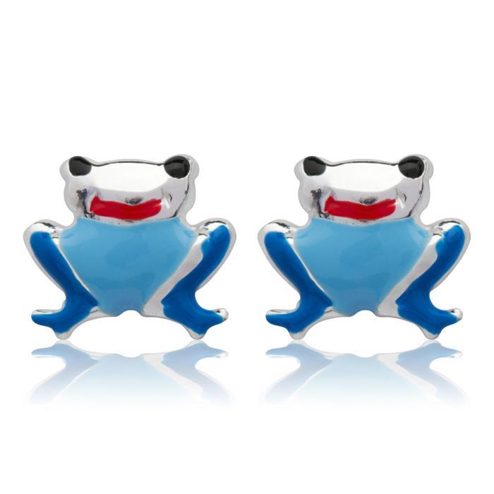 925 Silber Kinderohrstecker mit Froschmotiv blau
