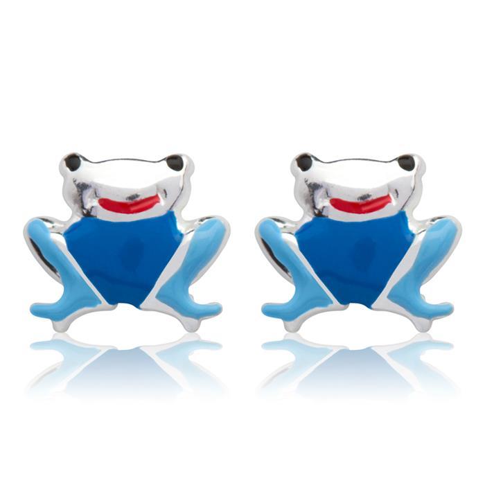 Kinderohrstecker Silber mit Froschmotiv blau