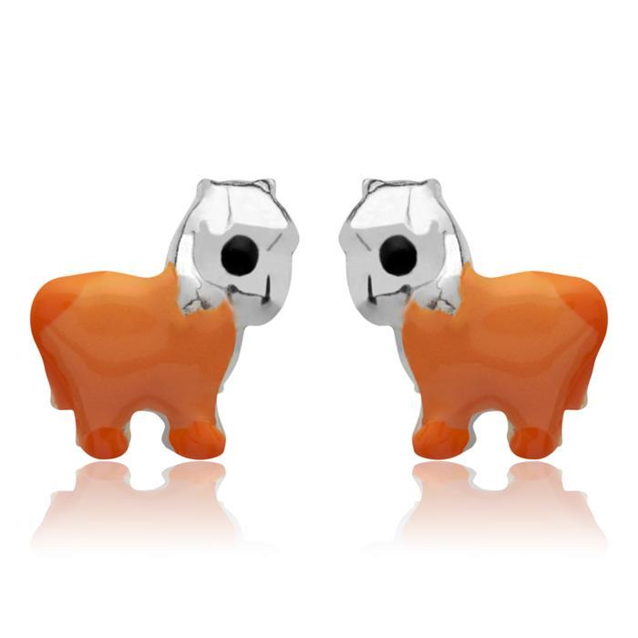 Kinderohrstecker 925 Silber Pferd orange