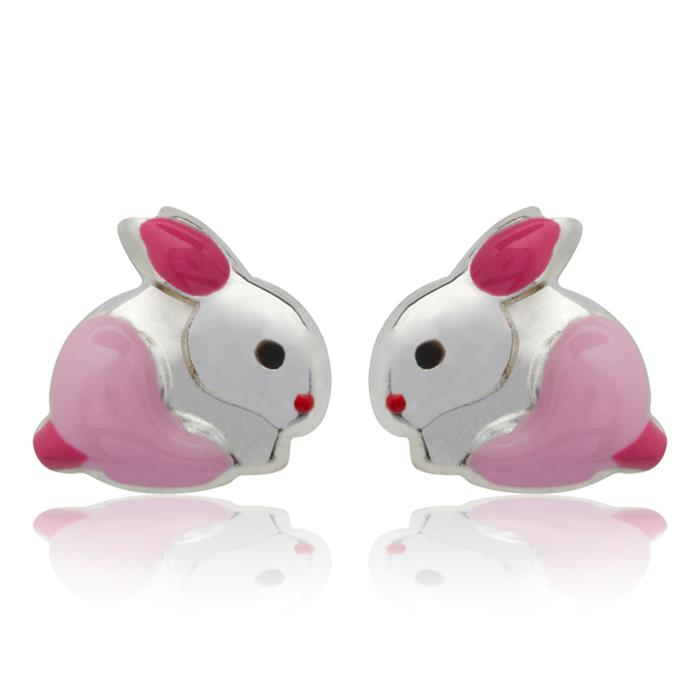 925 Silber Kinderohrstecker Hase pink