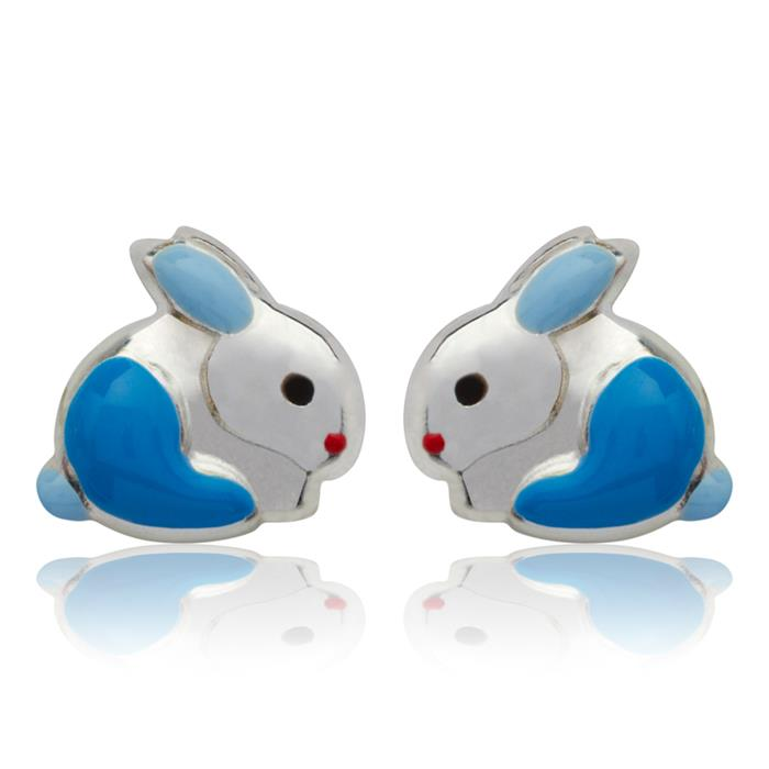 Kinderohrstecker 925 Silber Hase blau