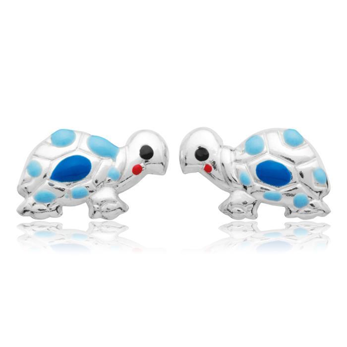 925 Silber Kinderohrstecker Schildkröte blau