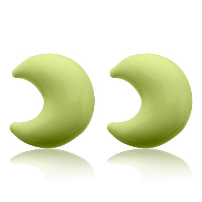 Kinderohrstecker Silber mit Mondmotiv grün