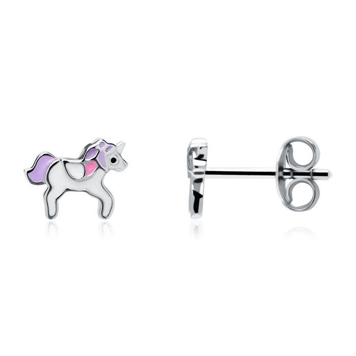 Einhorn Ohrstecker für Mädchen aus 925er Silber