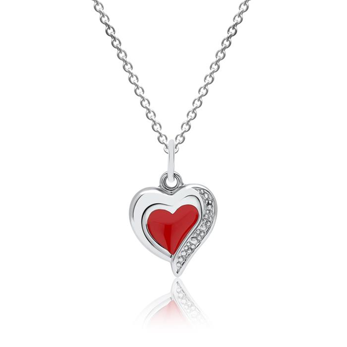 Kinderanhänger 925er Silber rotes Herz