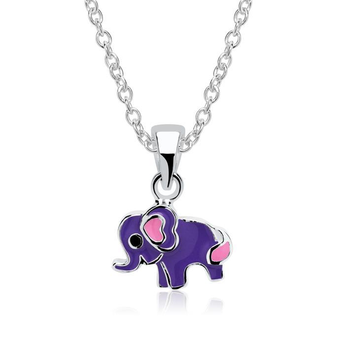 Kette mit Anhänger Elefant Lila 925er Silber