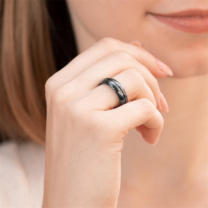 Hochwertiger kratzfester Schwarzer Keramik Ring