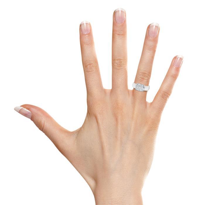 Weißer Keramik Fingerring mit Zirkoniabesatz