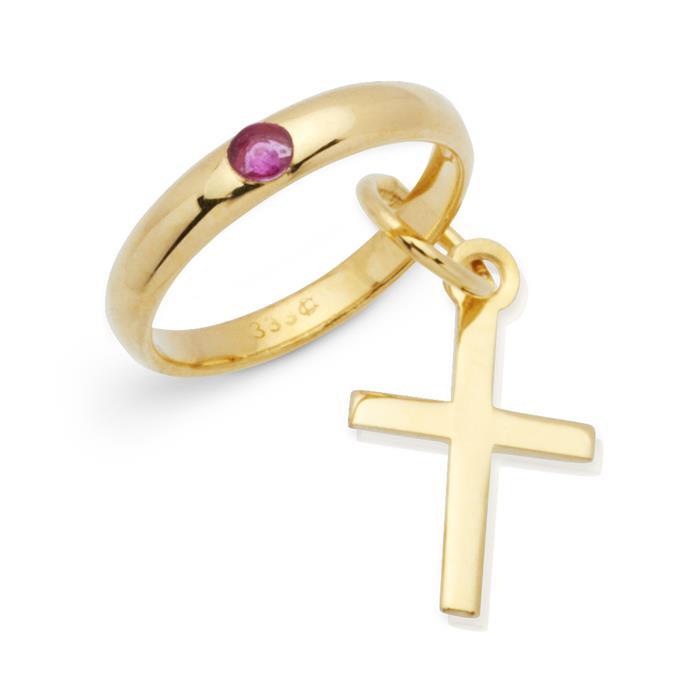 Gold Taufring: 333er Rubin Kreuzanhänger