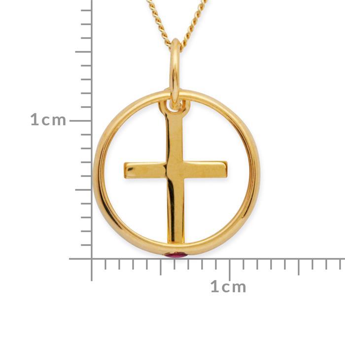 333er Gold Taufkette: Rubin Kreuz