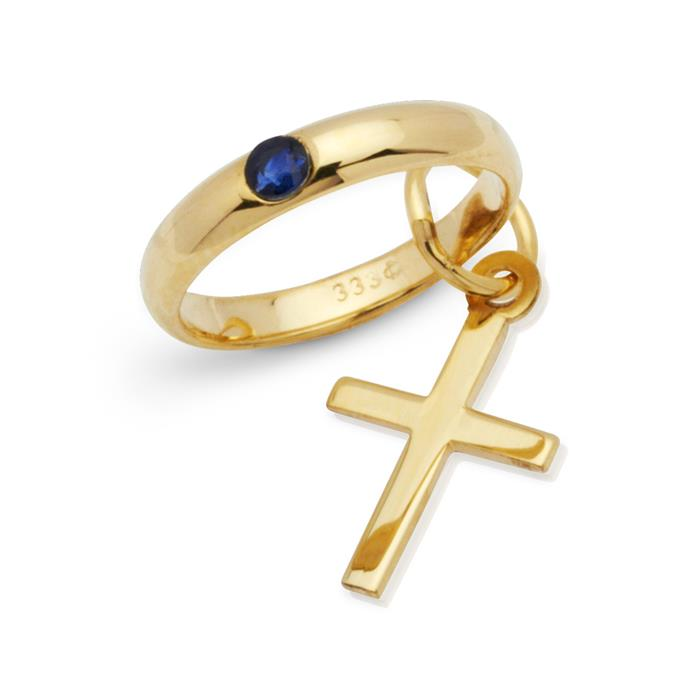 Gold Taufring: 333er Saphir Kreuzanhänger