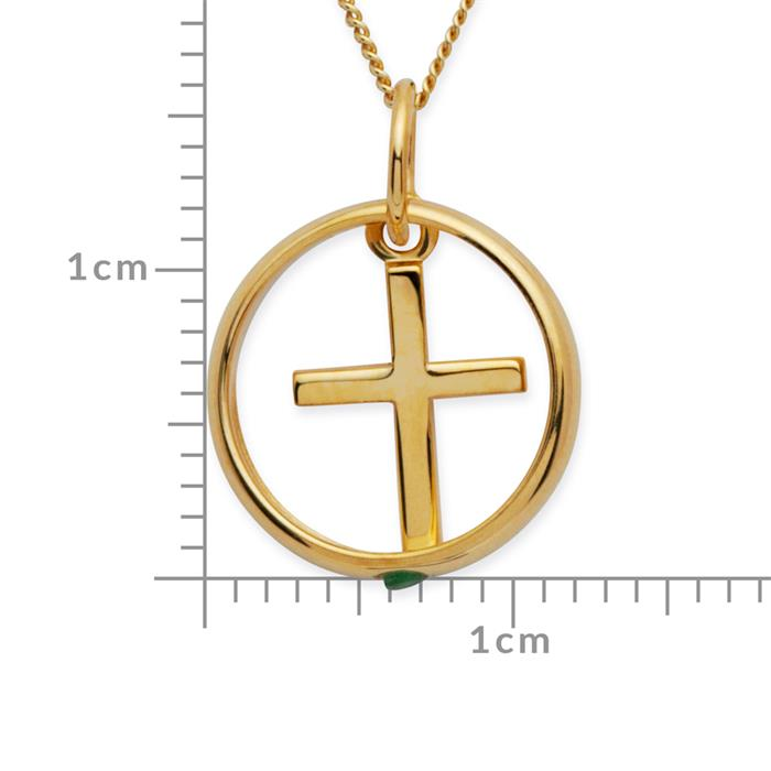 333er Gold Taufkette mit Kreuz Smaragd