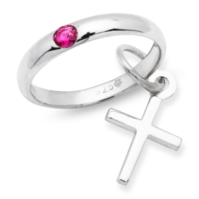 925 Silber Taufkette Rubin Kreuz