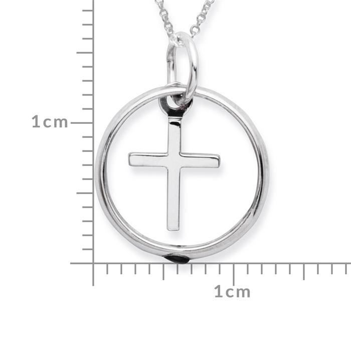 Taufkette 925 Silber Saphir Kreuz
