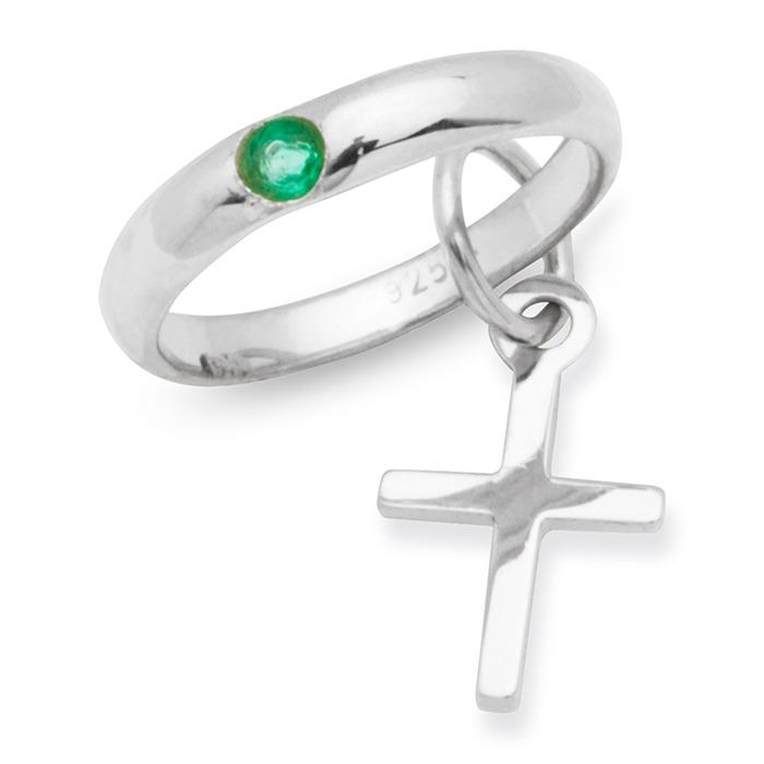 Taufkette 925 Silber Smaragd Kreuz