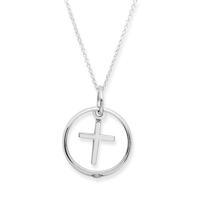 925 Silber Taufkette Zirkonia Kreuz