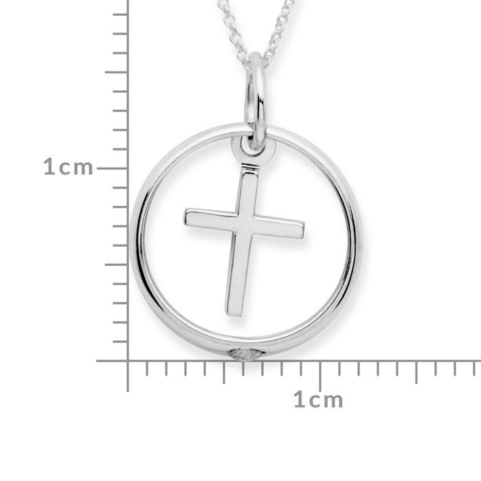 925 Silber Taufring Zirkonia Kreuzanhänger