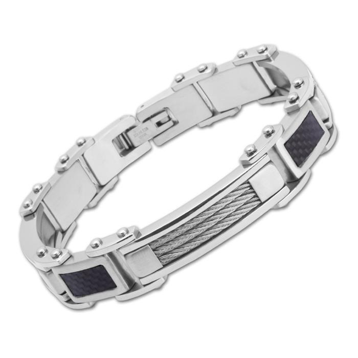 Armband Edelstahl Carbon/Stahlseil 21cm