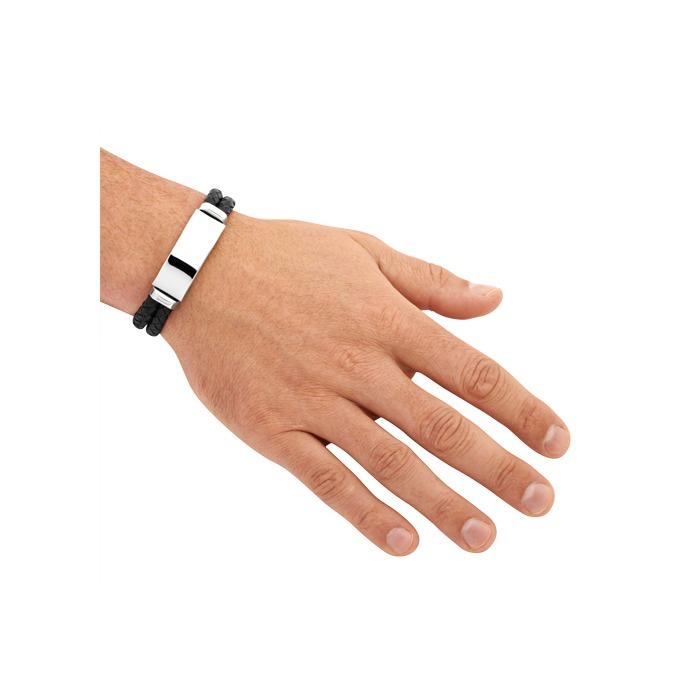 Schwarzes Leder Armband inklusive Lasergravur