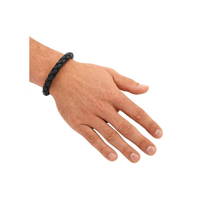 Armband Leder Edelstahlschnellverschluss schwarz