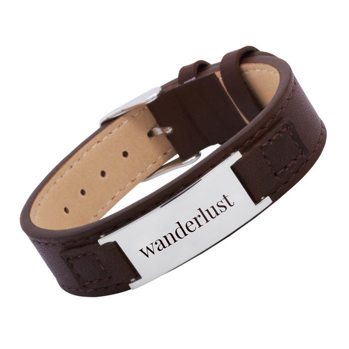 Armband Leder braun verstellbar 14,0-17,5cm