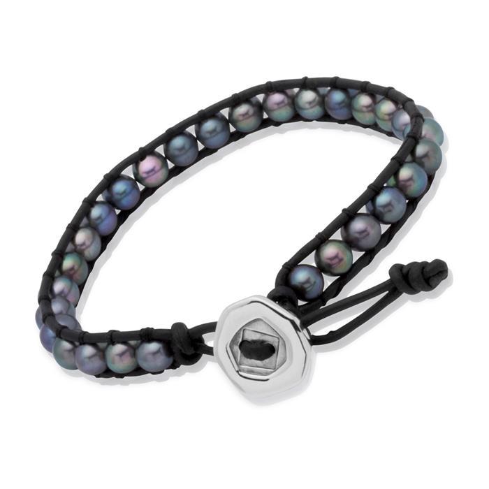 Armband Leder Schwarz verstellbar mit Perlen