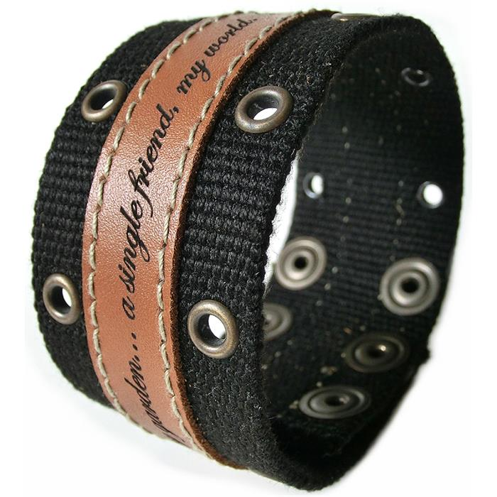 Cooles Leder-Textil-Armband mit Lasergravur