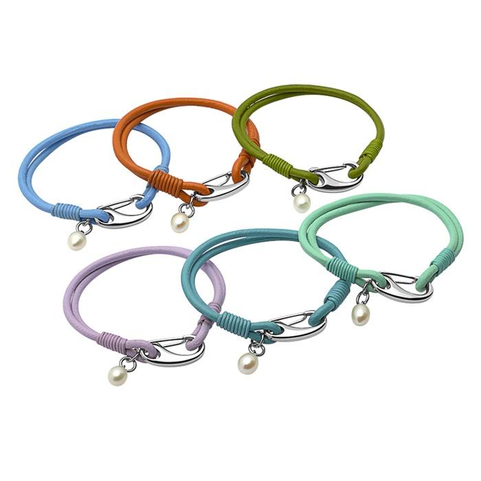 Armband Leder mintfarben Süßwasserperle