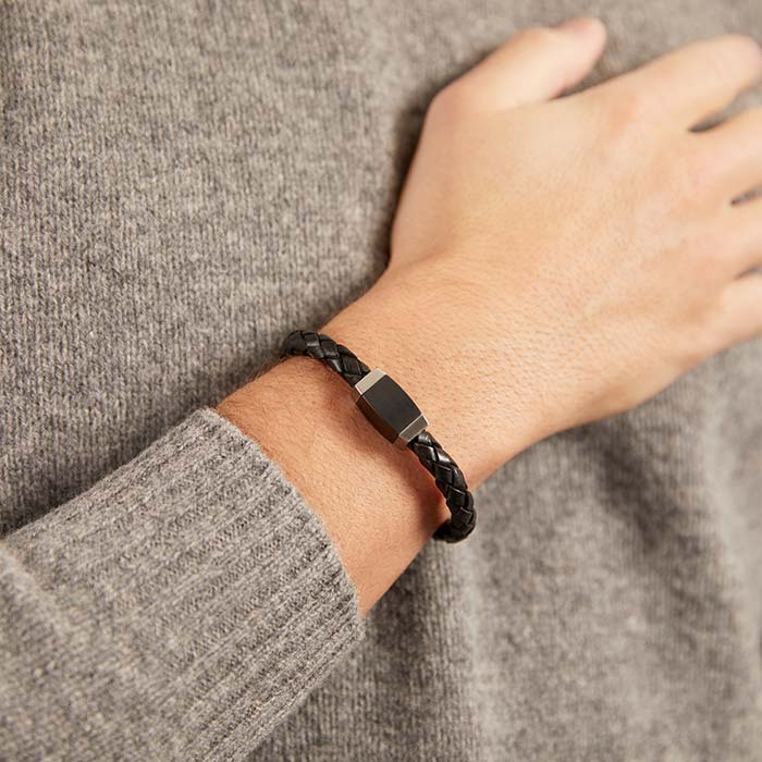 Geflochtenes Leder Armband schwarz